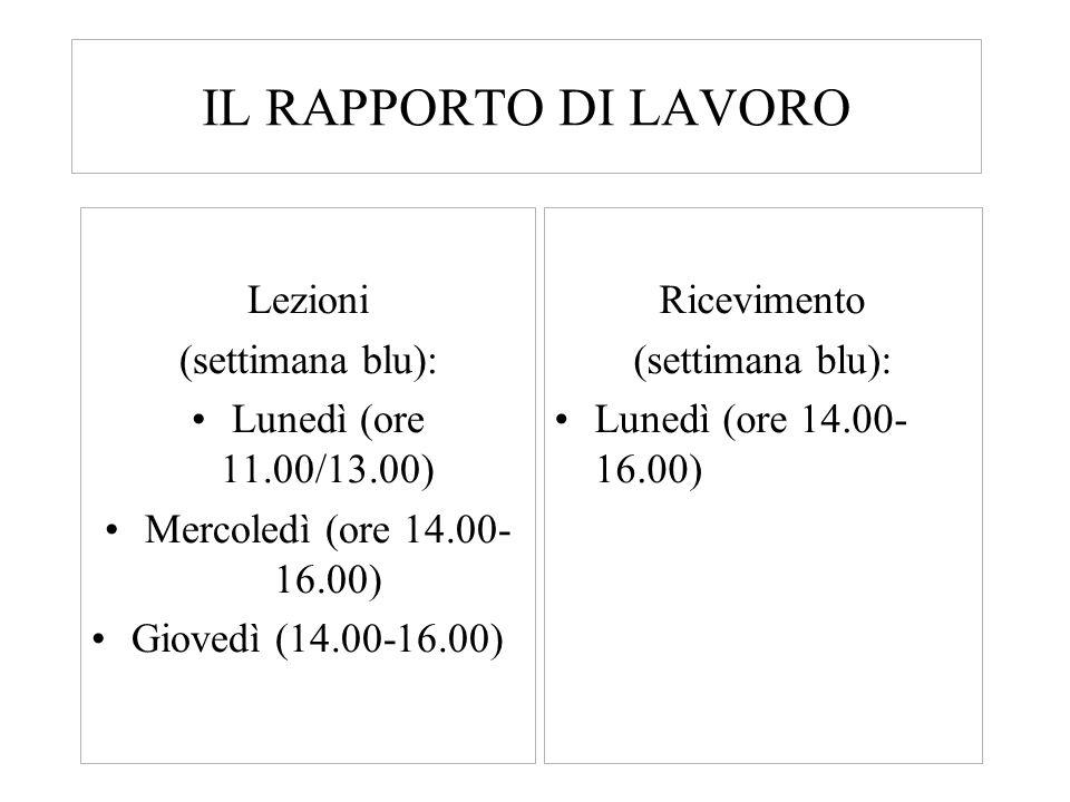 IL RAPPORTO DI LAVORO Lezioni (settimana blu): Lunedì (ore 11.00/13.00) Mercoledì (ore 14.00- 16.00) Giovedì (14.00-16.00) Ricevimento (settimana blu)