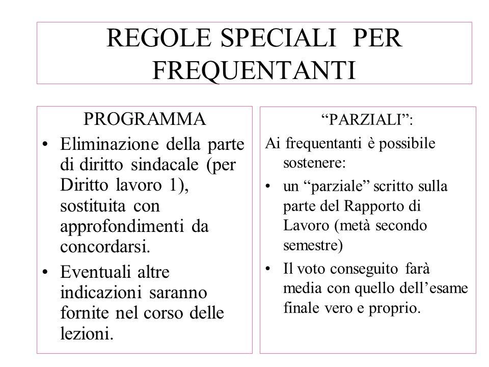 REGOLE SPECIALI PER FREQUENTANTI PROGRAMMA Eliminazione della parte di diritto sindacale (per Diritto lavoro 1), sostituita con approfondimenti da con