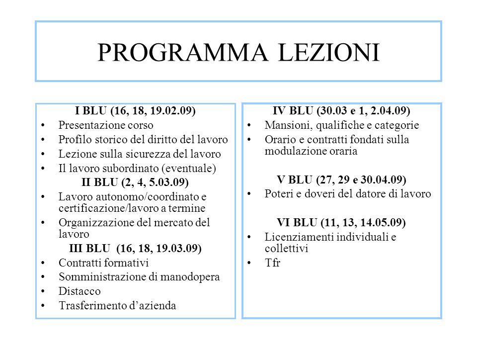 PROGRAMMA LEZIONI I BLU (16, 18, 19.02.09) Presentazione corso Profilo storico del diritto del lavoro Lezione sulla sicurezza del lavoro Il lavoro sub