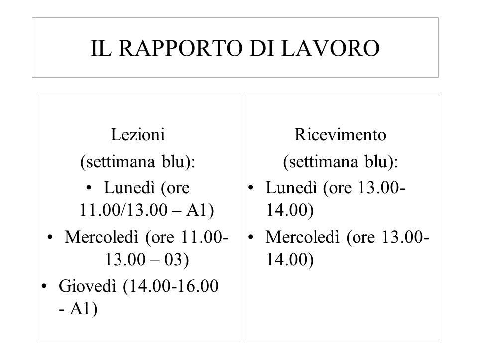IL RAPPORTO DI LAVORO Lezioni (settimana blu): Lunedì (ore 11.00/13.00 – A1) Mercoledì (ore 11.00- 13.00 – 03) Giovedì (14.00-16.00 - A1) Ricevimento