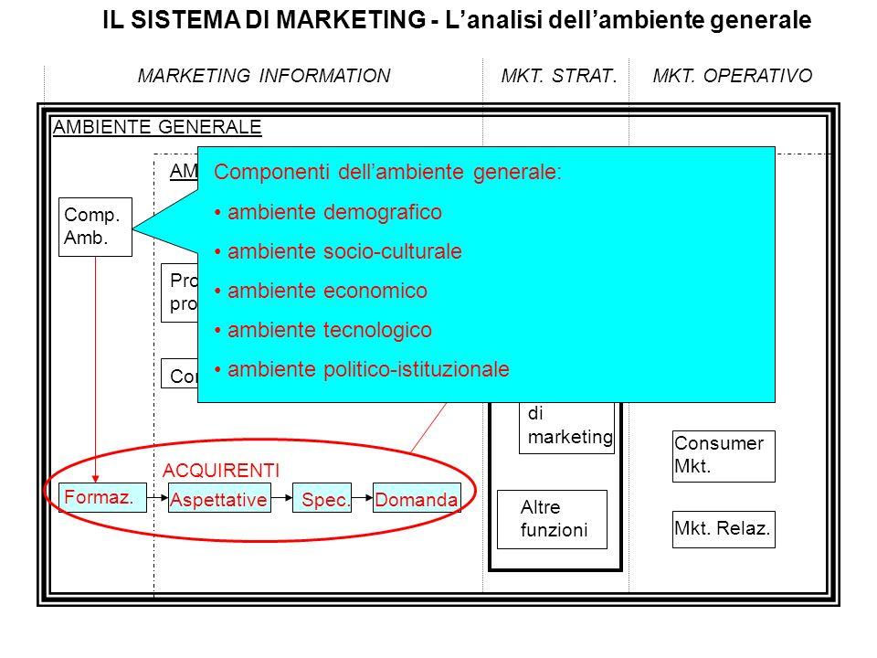 IL SISTEMA DI MARKETING - Lanalisi dellambiente generale MARKETING INFORMATIONMKT. STRAT.MKT. OPERATIVO AMBIENTE GENERALE Comp. Amb. AMBIENTE COMPETIT