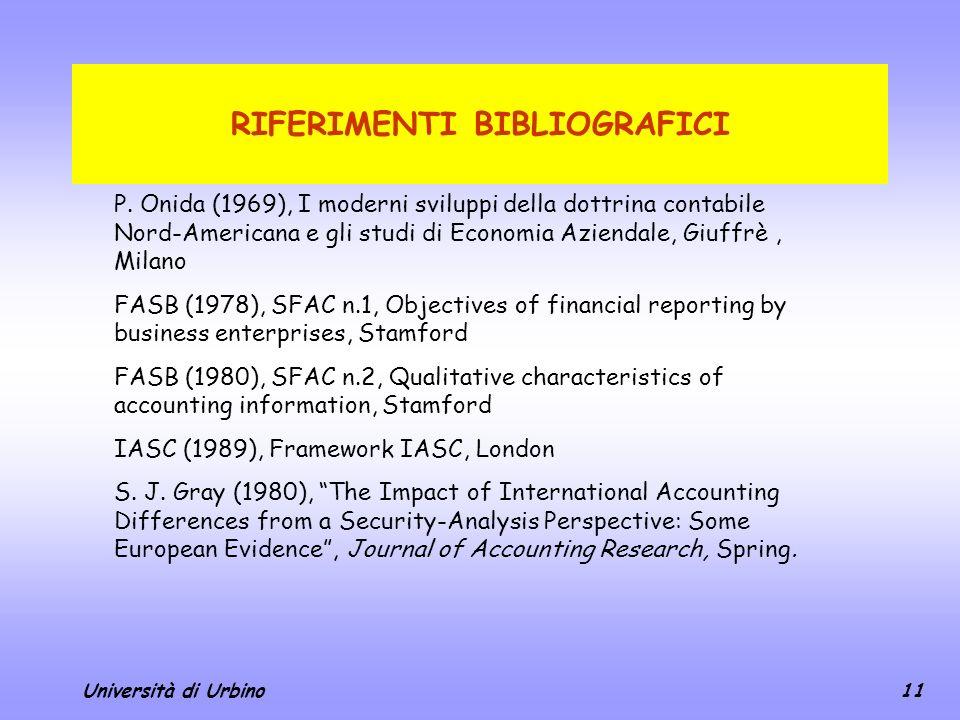 Università di Urbino11 RIFERIMENTI BIBLIOGRAFICI P. Onida (1969), I moderni sviluppi della dottrina contabile Nord-Americana e gli studi di Economia A