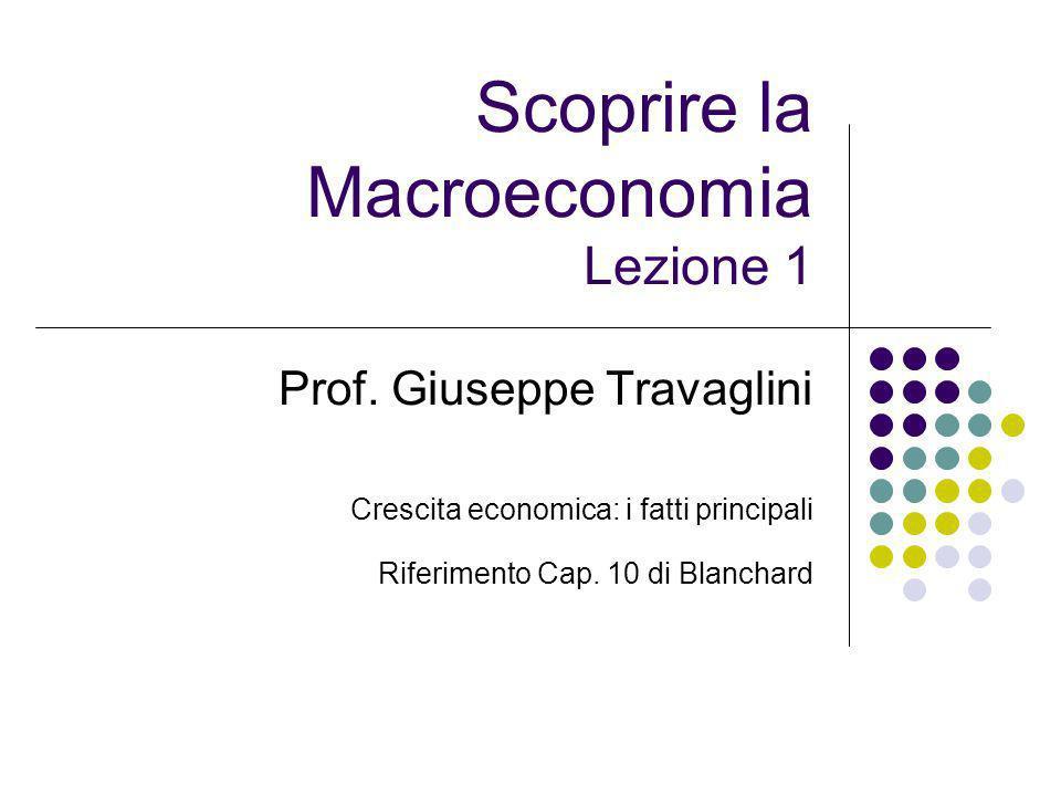 Scoprire la Macroeconomia Lezione 1 Prof. Giuseppe Travaglini Crescita economica: i fatti principali Riferimento Cap. 10 di Blanchard