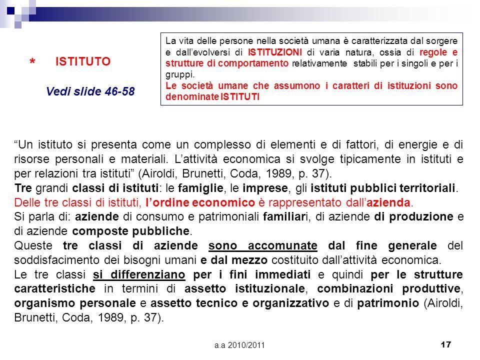 a.a 2010/201117 * ISTITUTO Un istituto si presenta come un complesso di elementi e di fattori, di energie e di risorse personali e materiali. Lattivit