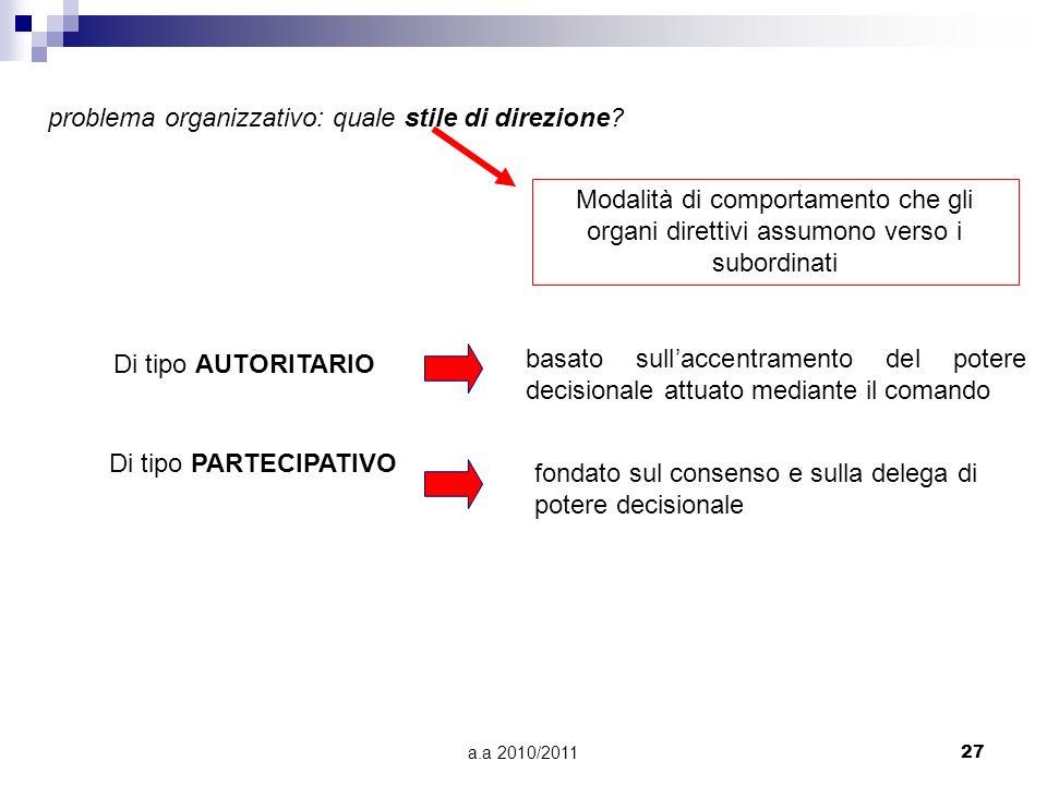a.a 2010/201127 problema organizzativo: quale stile di direzione? Modalità di comportamento che gli organi direttivi assumono verso i subordinati Di t