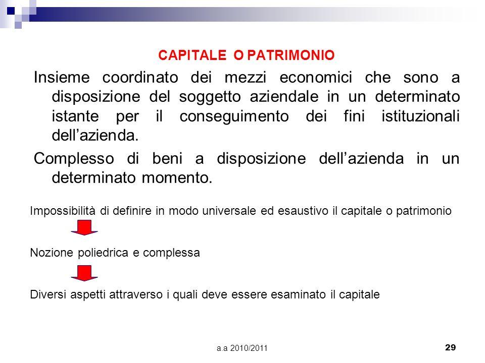a.a 2010/201129 CAPITALE O PATRIMONIO Insieme coordinato dei mezzi economici che sono a disposizione del soggetto aziendale in un determinato istante