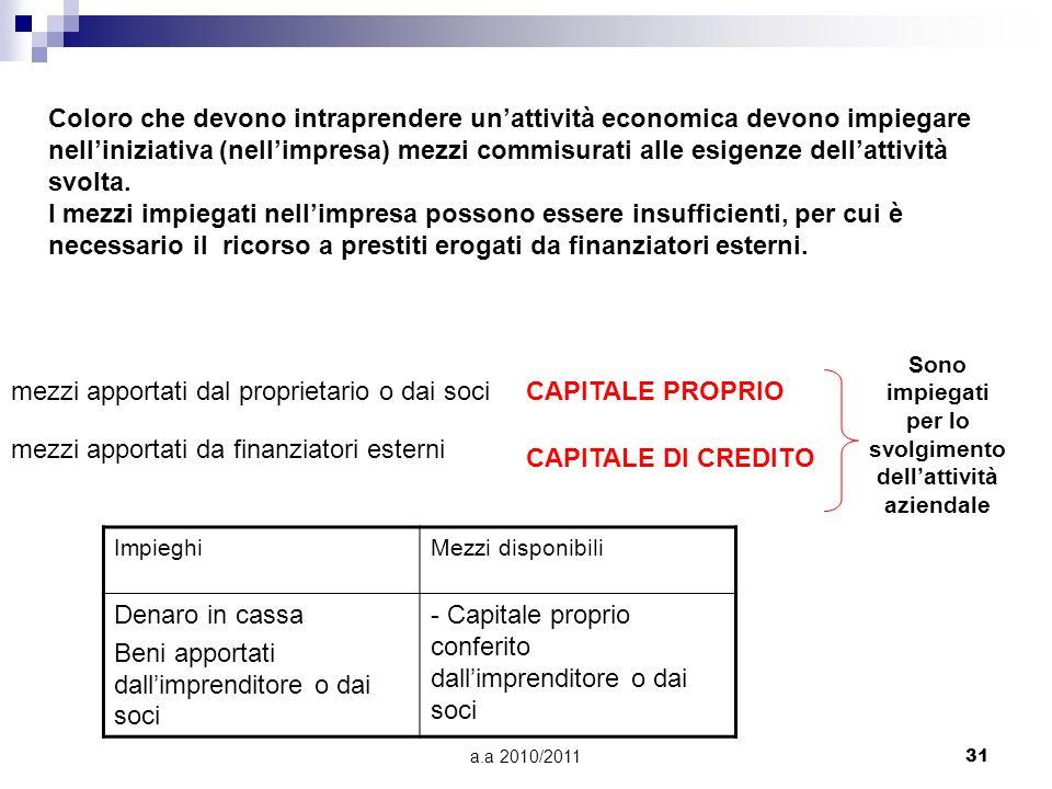 a.a 2010/201131 Coloro che devono intraprendere unattività economica devono impiegare nelliniziativa (nellimpresa) mezzi commisurati alle esigenze del