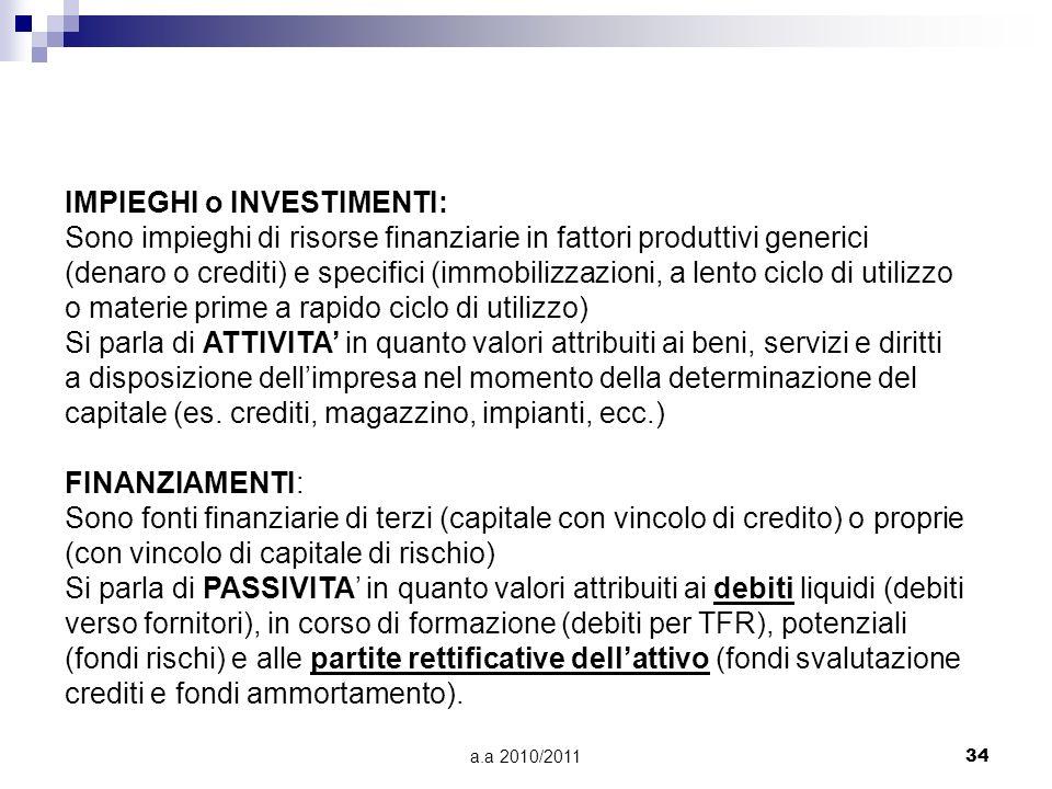 a.a 2010/201134 IMPIEGHI o INVESTIMENTI: Sono impieghi di risorse finanziarie in fattori produttivi generici (denaro o crediti) e specifici (immobiliz