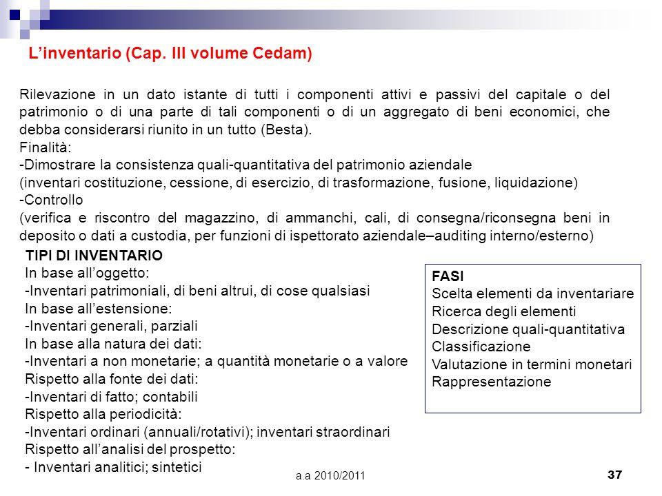 a.a 2010/201137 Linventario (Cap. III volume Cedam) Rilevazione in un dato istante di tutti i componenti attivi e passivi del capitale o del patrimoni