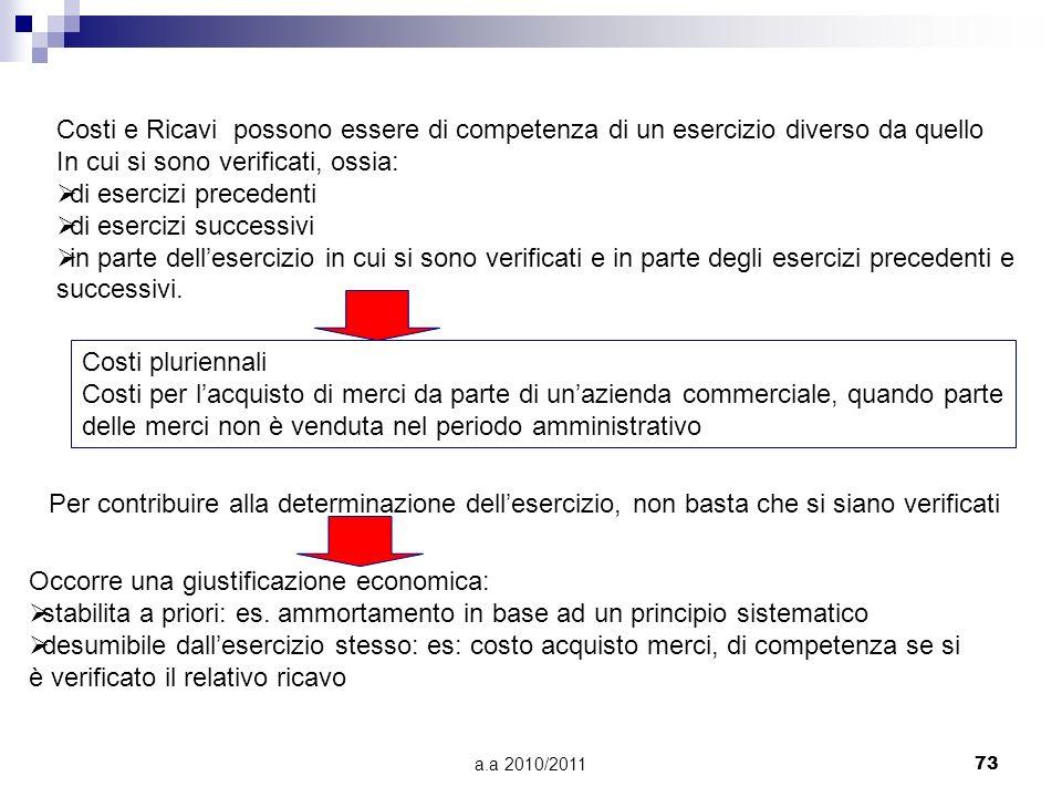 a.a 2010/201173 Costi e Ricavi possono essere di competenza di un esercizio diverso da quello In cui si sono verificati, ossia: di esercizi precedenti