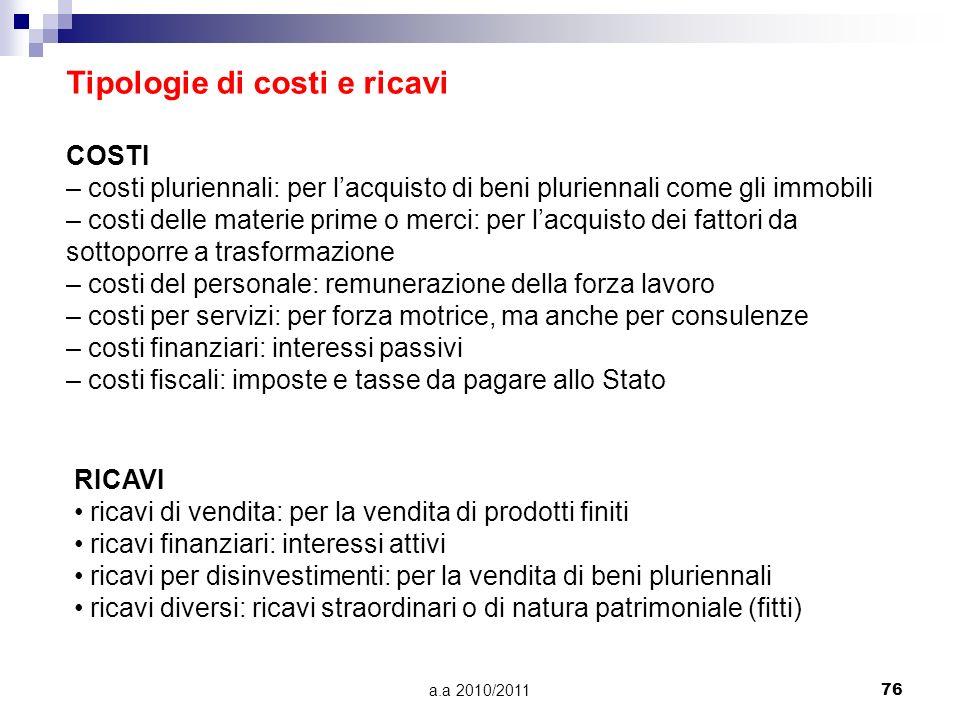 a.a 2010/201176 Tipologie di costi e ricavi COSTI – costi pluriennali: per lacquisto di beni pluriennali come gli immobili – costi delle materie prime