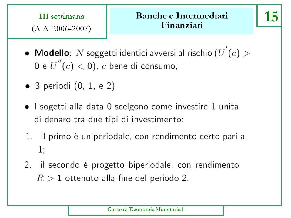 Banche e Intermediari Finanziari 14 III settimana (A.A. 2006-2007) Corso di Economia Monetaria 1