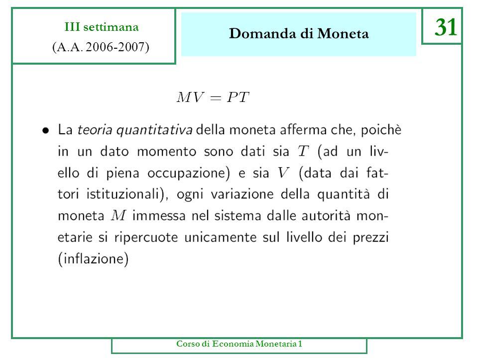 Domanda di Moneta 30 III settimana (A.A. 2006-2007) Corso di Economia Monetaria 1