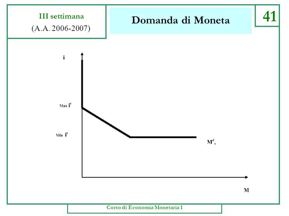 Domanda di Moneta 40 III settimana (A.A. 2006-2007) Corso di Economia Monetaria 1