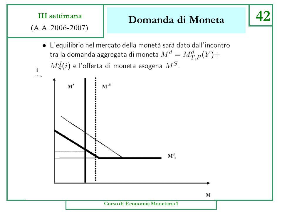 Domanda di Moneta 41 III settimana (A.A. 2006-2007) Corso di Economia Monetaria 1