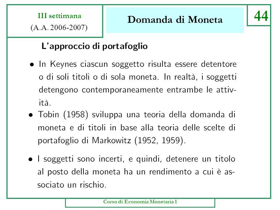 Domanda di Moneta 43 III settimana (A.A. 2006-2007) Corso di Economia Monetaria 1