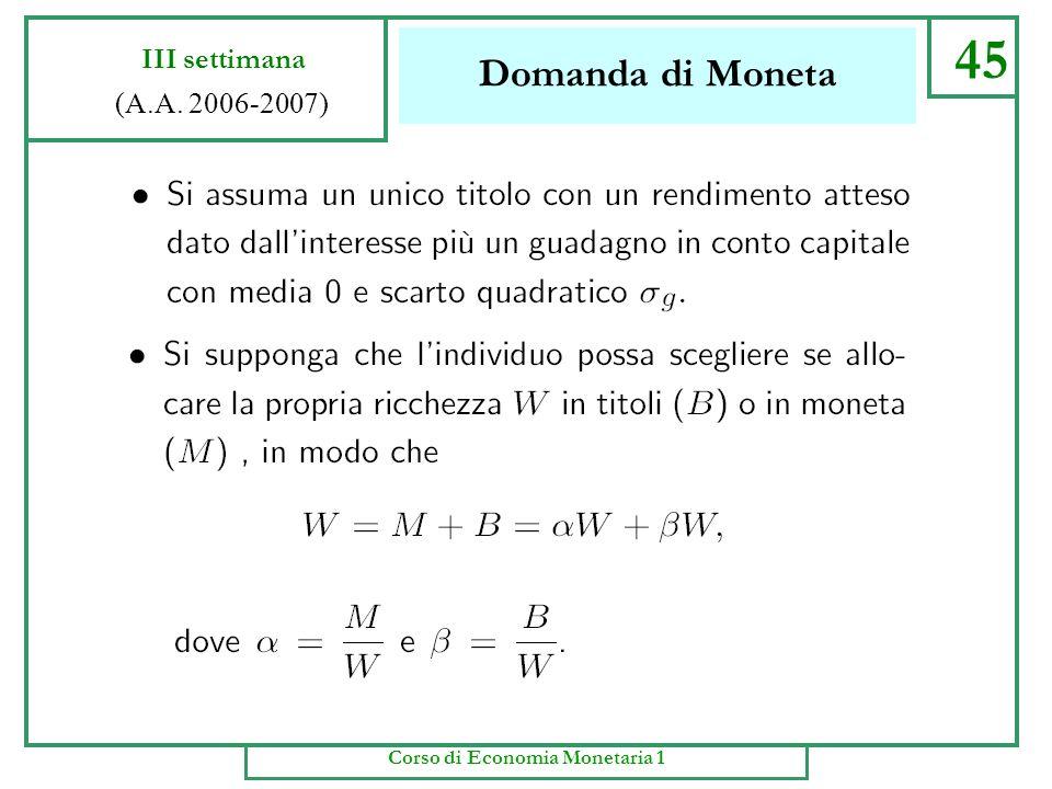 Domanda di Moneta 44 III settimana (A.A. 2006-2007) Corso di Economia Monetaria 1