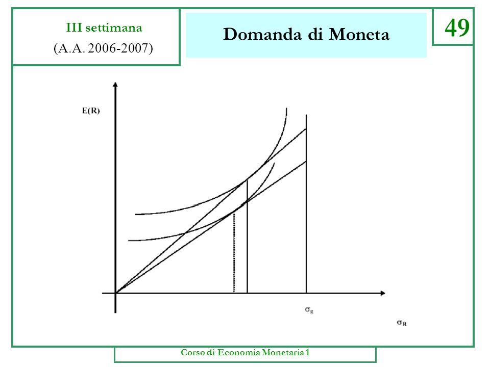 Domanda di Moneta 48 III settimana (A.A. 2006-2007) Corso di Economia Monetaria 1