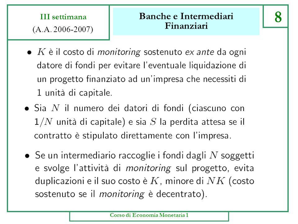 Banche e Intermediari Finanziari 7 III settimana (A.A. 2006-2007) Corso di Economia Monetaria 1