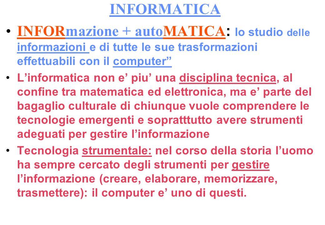 INFORMATICA INFORmazione + autoMATICA : lo studio delle informazioni e di tutte le sue trasformazioni effettuabili con il computer Linformatica non e