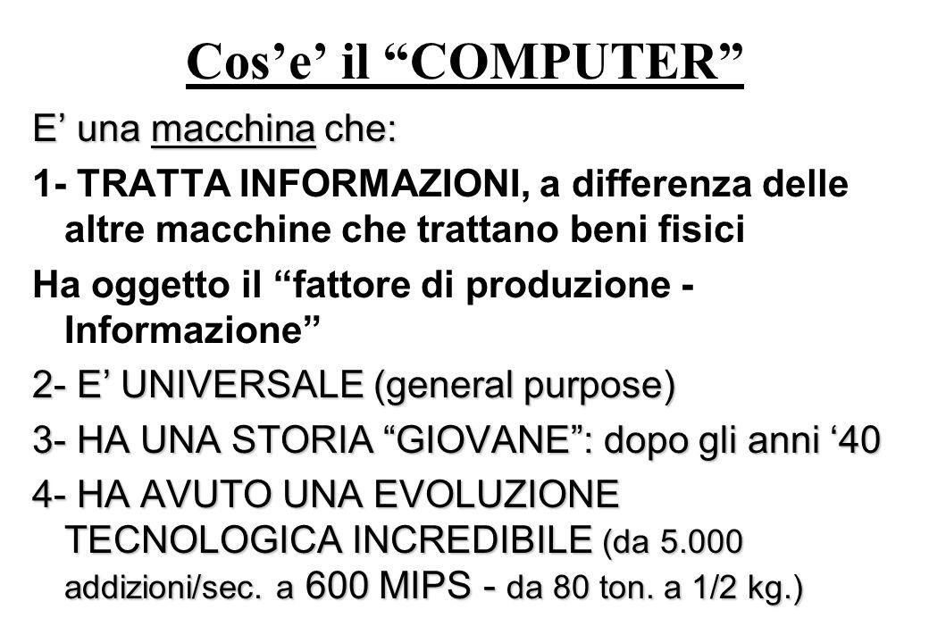 Cose il COMPUTER E una macchina che: 1- TRATTA INFORMAZIONI, a differenza delle altre macchine che trattano beni fisici Ha oggetto il fattore di produzione - Informazione 2- E UNIVERSALE (general purpose) 3- HA UNA STORIA GIOVANE: dopo gli anni 40 4- HA AVUTO UNA EVOLUZIONE TECNOLOGICA INCREDIBILE (da 5.000 addizioni/sec.