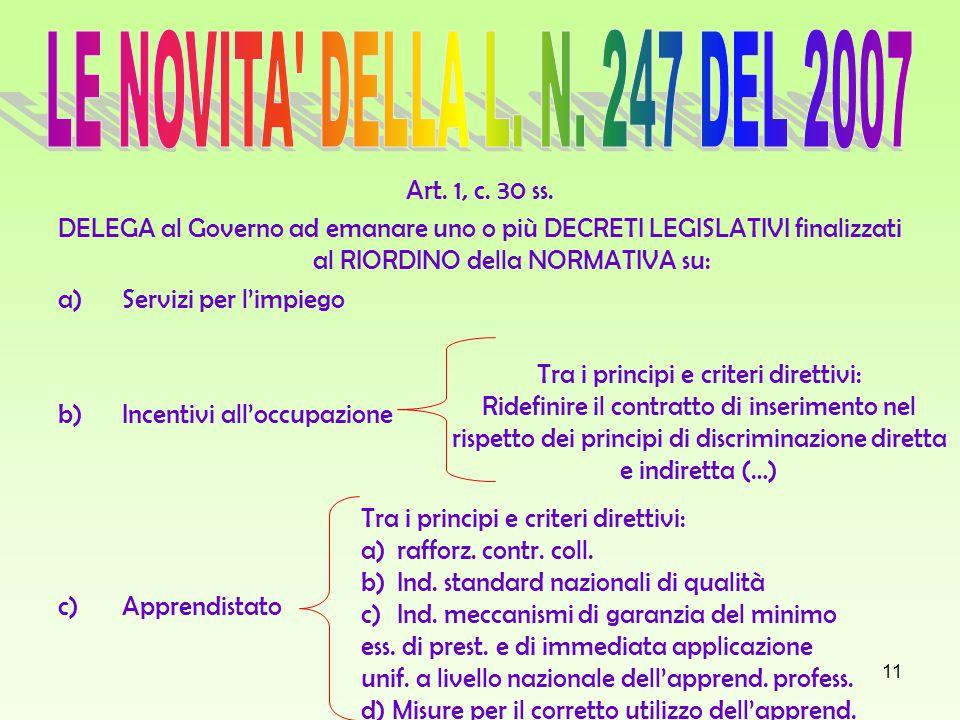 11 Art. 1, c. 30 ss. DELEGA al Governo ad emanare uno o più DECRETI LEGISLATIVI finalizzati al RIORDINO della NORMATIVA su: a)Servizi per limpiego b)I