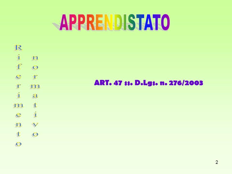 2 ART. 47 ss. D.Lgs. n. 276/2003