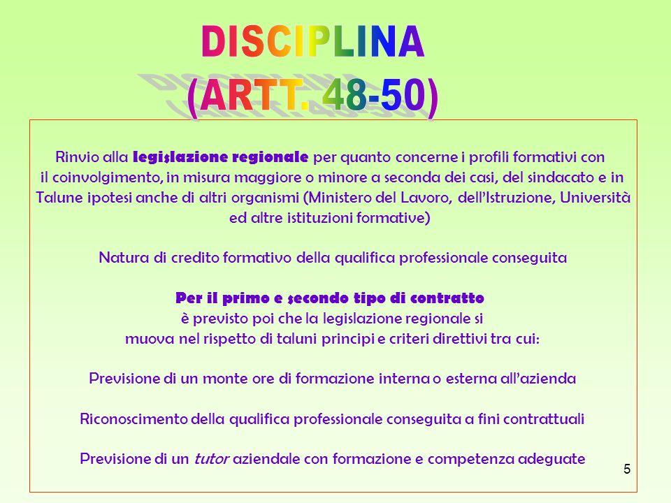 5 Rinvio alla legislazione regionale per quanto concerne i profili formativi con il coinvolgimento, in misura maggiore o minore a seconda dei casi, de