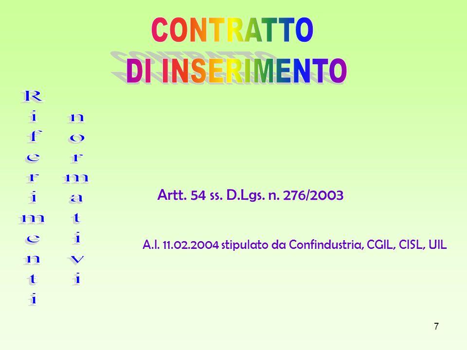 7 Artt. 54 ss. D.Lgs. n. 276/2003 A.I. 11.02.2004 stipulato da Confindustria, CGIL, CISL, UIL