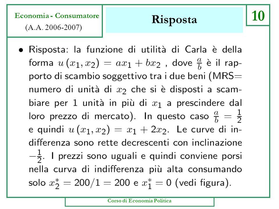 Esercizio 1 9 Economia - Consumatore (A.A. 2006-2007) Corso di Economia Politica