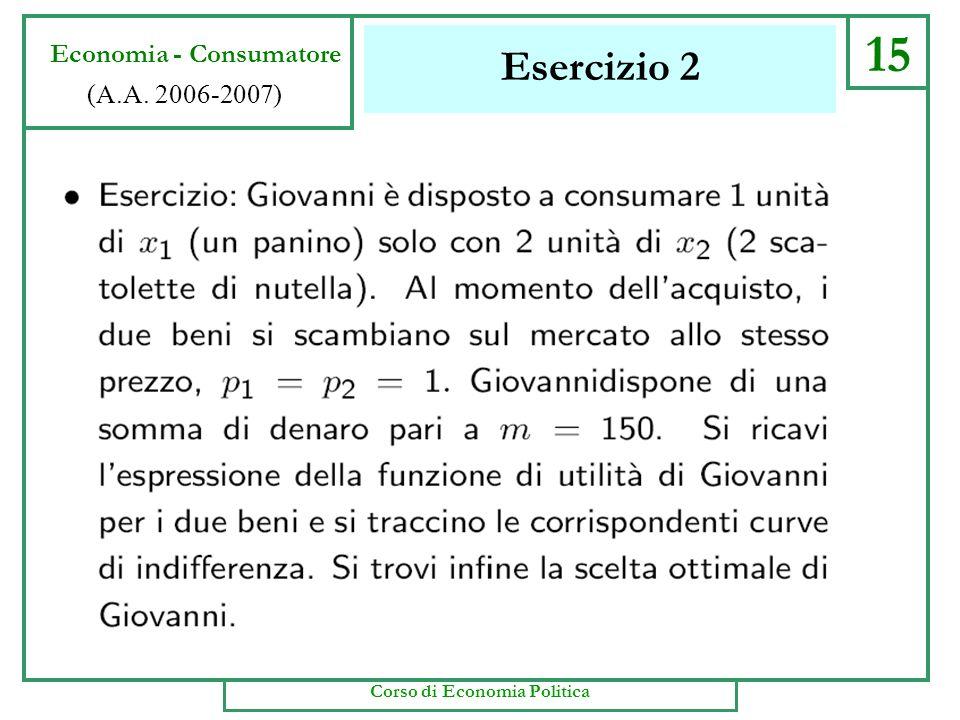 Casi speciali 14 Economia - Consumatore (A.A. 2006-2007) Corso di Economia Politica