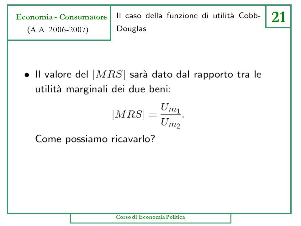 20 Economia - Consumatore (A.A. 2006-2007) Corso di Economia Politica