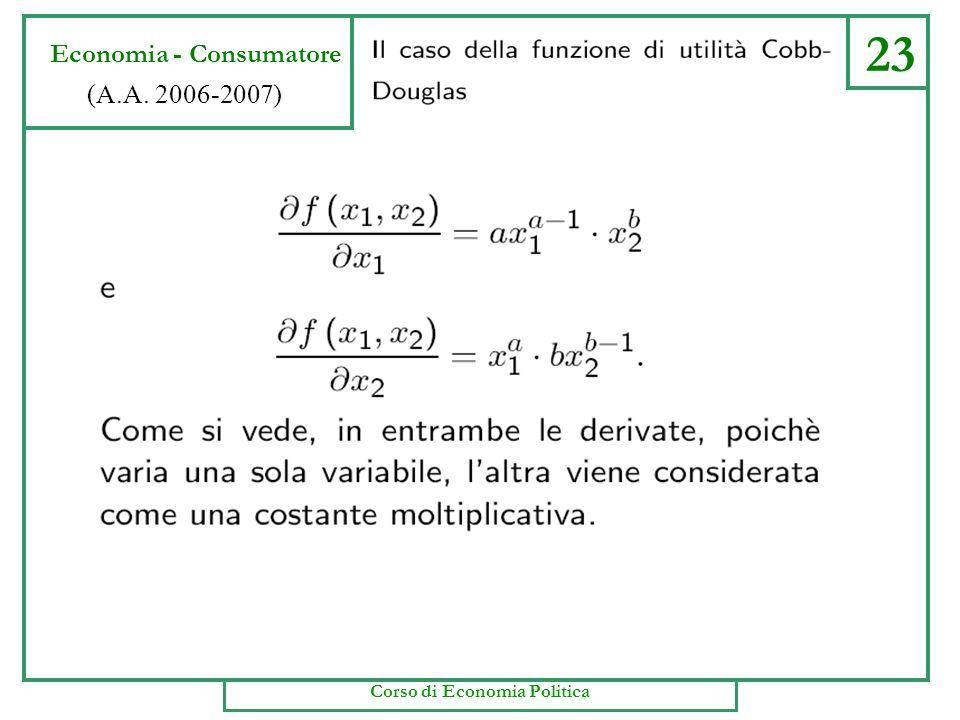 22 Economia - Consumatore (A.A. 2006-2007) Corso di Economia Politica