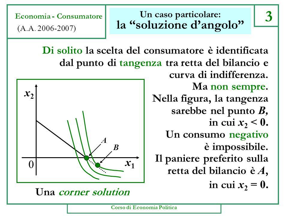 x2x2 * x1x1 * m/p1m/p1 m/p2m/p2 2 Il grafico della scelta Economia - Consumatore (A.A. 2006-2007) x1x1 x2x2 0 A B C RICAPITOLANDO. Per lipotesi di raz
