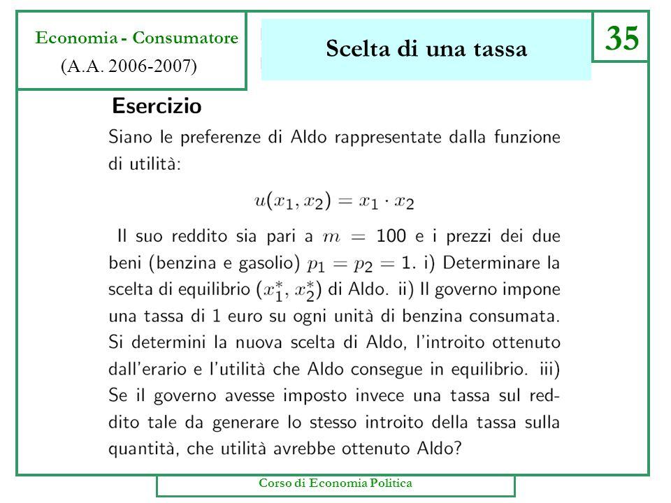 34 Economia - Consumatore (A.A. 2006-2007) Corso di Economia Politica Scelta di una tassa