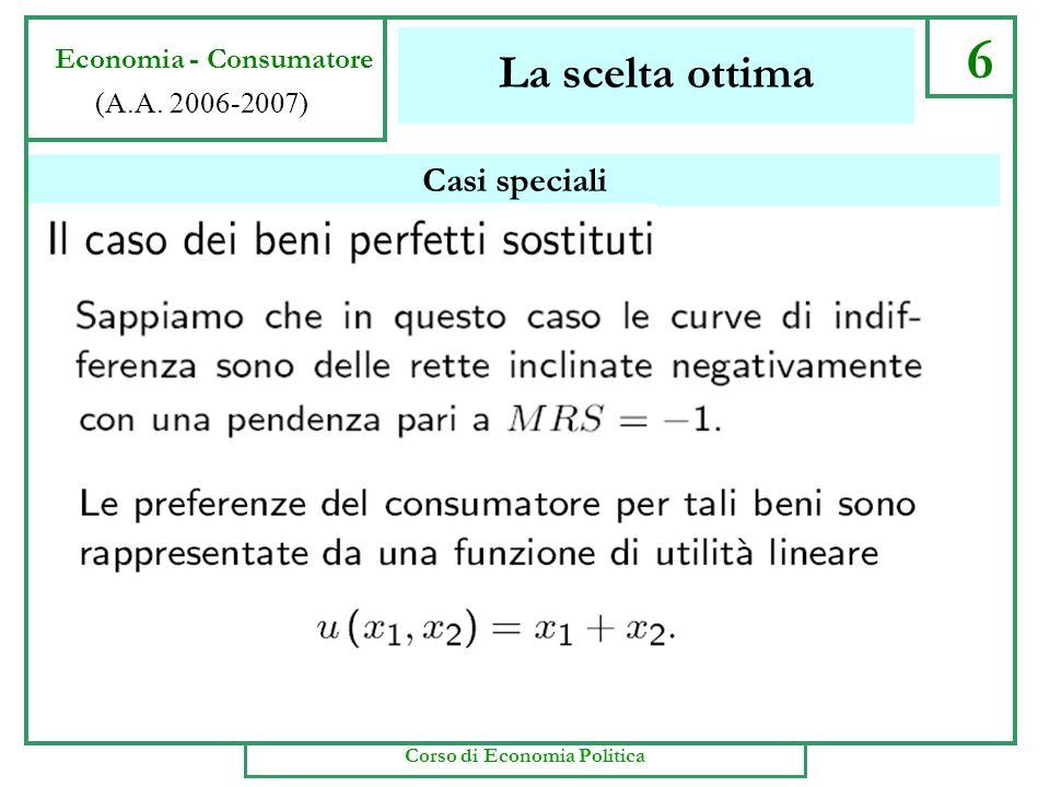 x2x2 x1x1 0 Il grafico corrispondente 6 Economia - Consumatore S 10 5 20 Si disegna la retta del bilancio usando lequazione del vincolo per identifica