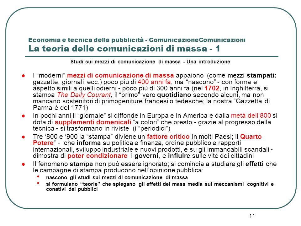 11 Economia e tecnica della pubblicità - ComunicazioneComunicazioni La teoria delle comunicazioni di massa - 1 Studi sui mezzi di comunicazione di mas