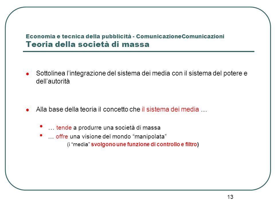 13 Economia e tecnica della pubblicità - ComunicazioneComunicazioni Teoria della società di massa Sottolinea lintegrazione del sistema dei media con i