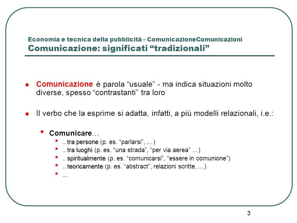 3 Economia e tecnica della pubblicità - ComunicazioneComunicazioni Comunicazione: significati tradizionali Comunicazione è parola usuale - ma indica s