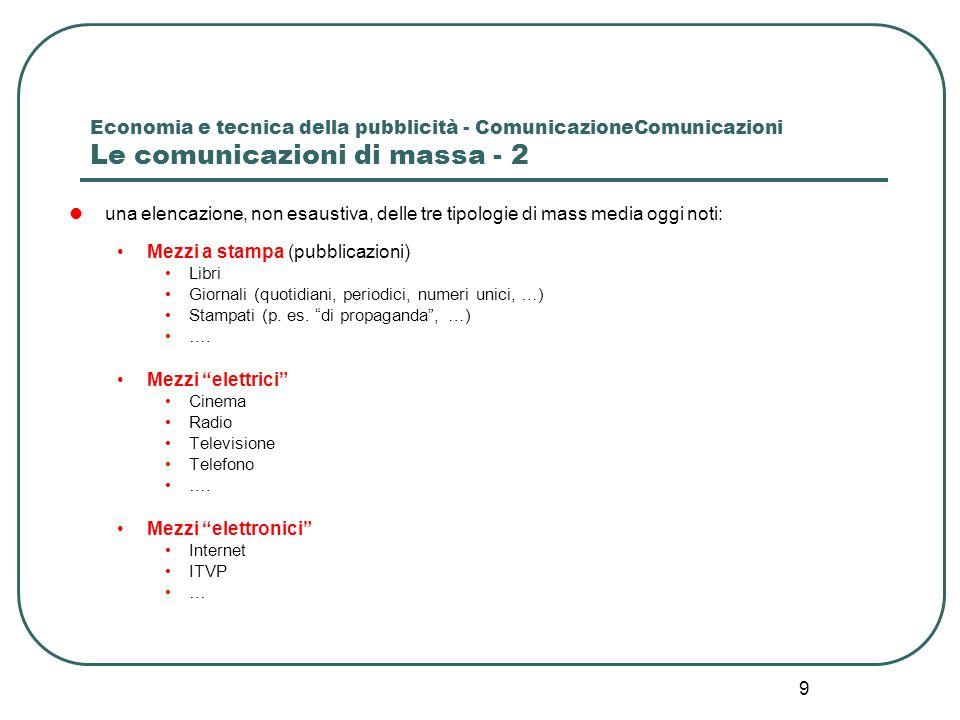 9 Economia e tecnica della pubblicità - ComunicazioneComunicazioni Le comunicazioni di massa - 2 una elencazione, non esaustiva, delle tre tipologie d