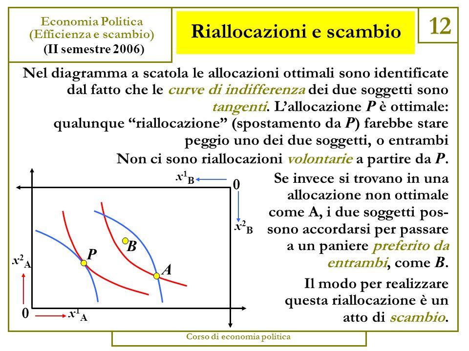 Le allocazioni Pareto-ottimali 11 Economia Politica (Efficienza e scambio) (II semestre 2006) Corso di economia politica Per vedere se unallocazione (un punto della scatola) è o no Pareto-ottimale, si devono tracciare in quel punto le curve di indifferenza dei due soggetti (naturalmente, quelle del secondo soggetto sono a rovescio.