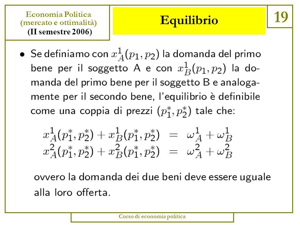 Equilibrio 18 Economia Politica (mercato e ottimalità) (II semestre 2006) Corso di economia politica