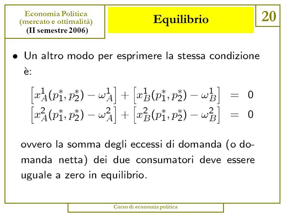 Equilibrio 19 Economia Politica (mercato e ottimalità) (II semestre 2006) Corso di economia politica