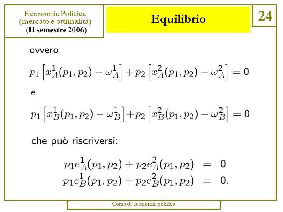 Equilibrio 23 Economia Politica (mercato e ottimalità) (II semestre 2006) Corso di economia politica