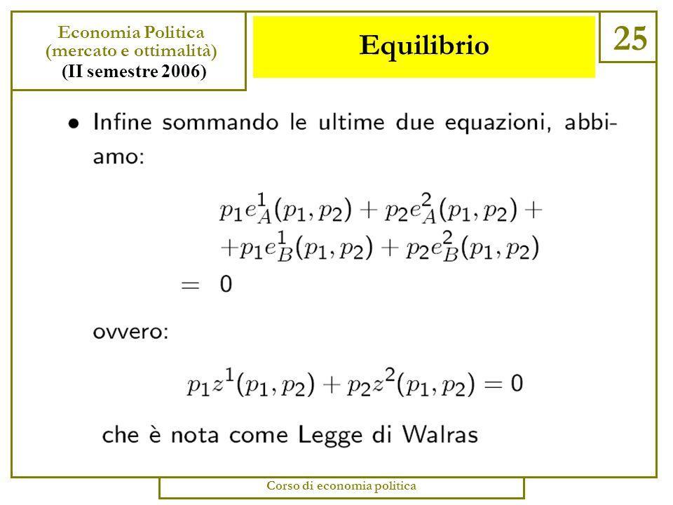 Equilibrio 24 Economia Politica (mercato e ottimalità) (II semestre 2006) Corso di economia politica