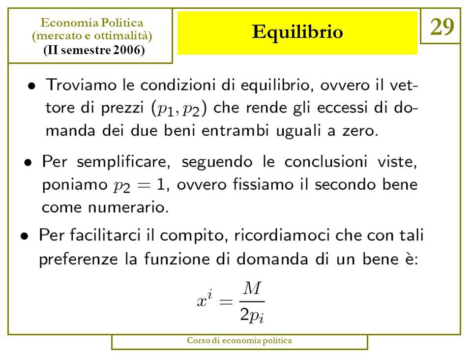 Equilibrio 28 Economia Politica (mercato e ottimalità) (II semestre 2006) Corso di economia politica