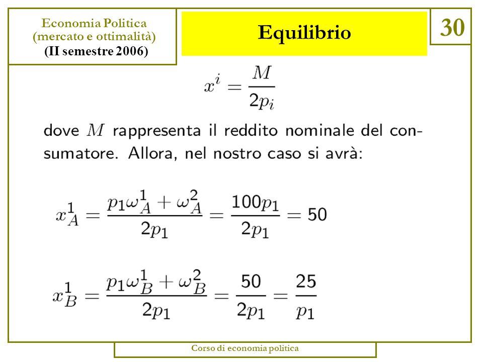 Equilibrio 29 Economia Politica (mercato e ottimalità) (II semestre 2006) Corso di economia politica