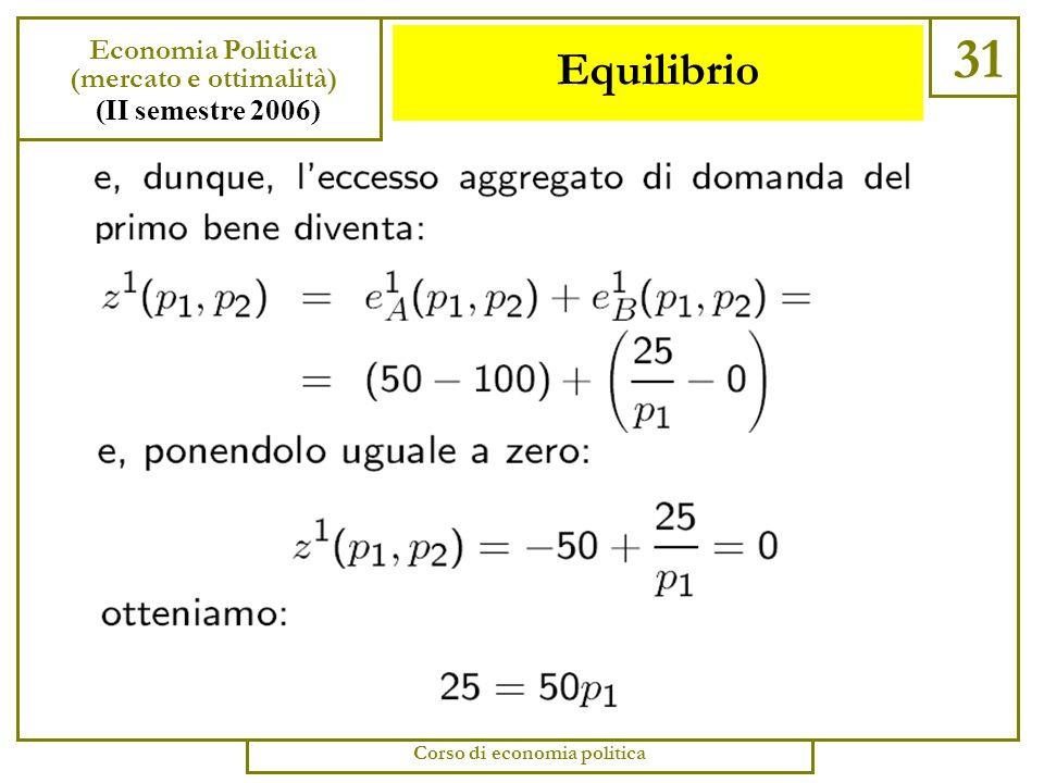 Equilibrio 30 Economia Politica (mercato e ottimalità) (II semestre 2006) Corso di economia politica