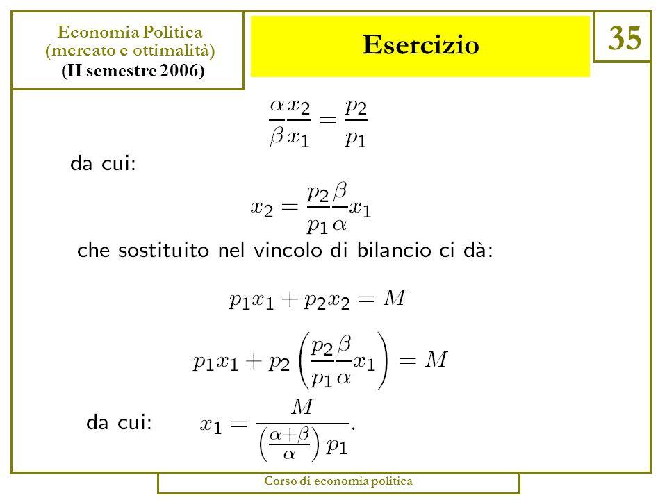 Esercizio 34 Economia Politica (mercato e ottimalità) (II semestre 2006) Corso di economia politica