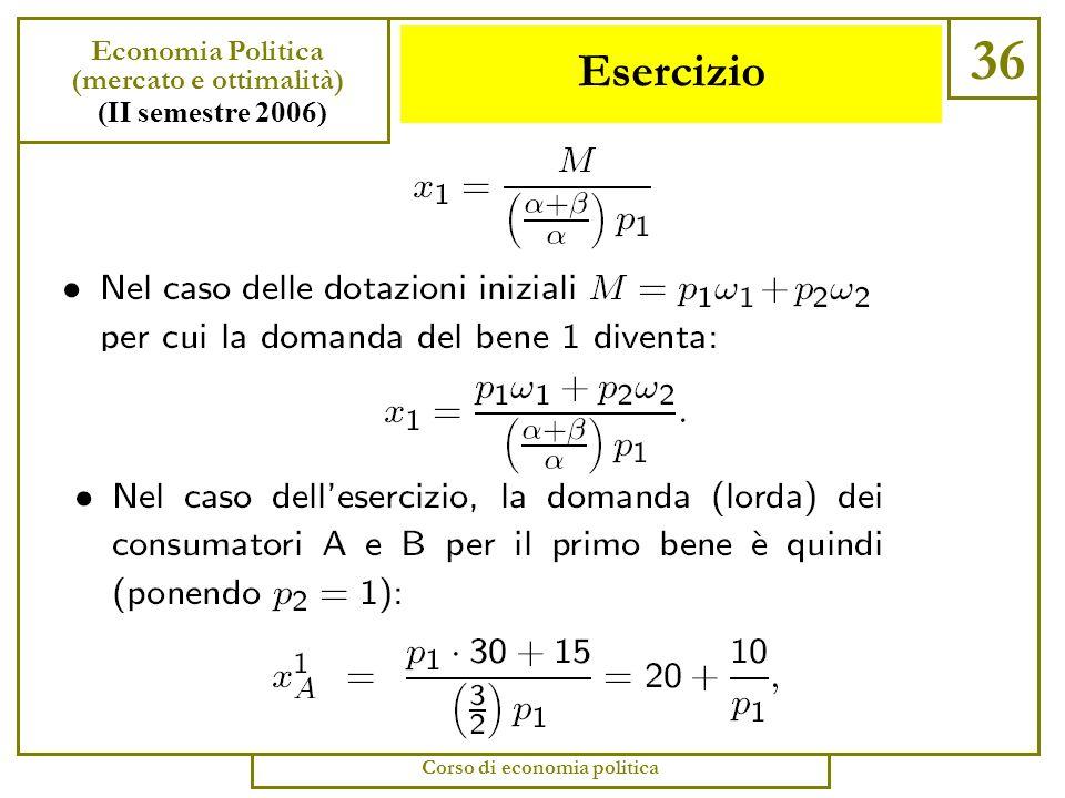 Esercizio 35 Economia Politica (mercato e ottimalità) (II semestre 2006) Corso di economia politica